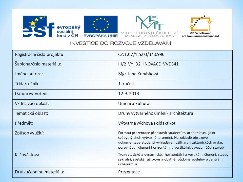 Registrační číslo projektu: CZ.1.07/1.5.00/34.0996