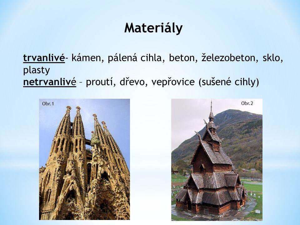 Materiály trvanlivé- kámen, pálená cihla, beton, železobeton, sklo, plasty. netrvanlivé – proutí, dřevo, vepřovice (sušené cihly)