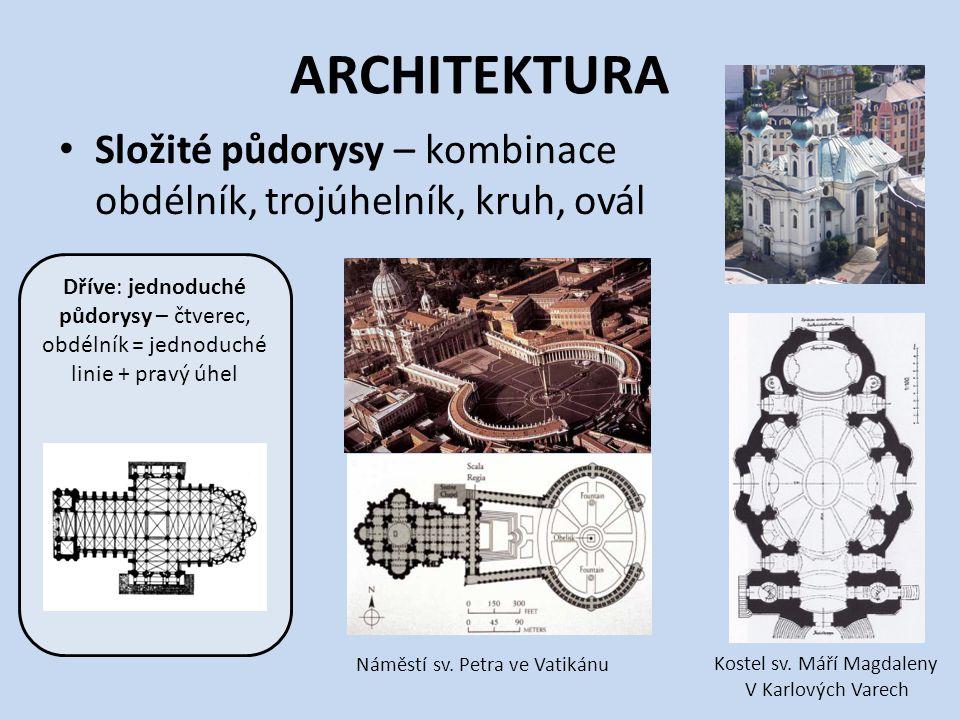 ARCHITEKTURA Složité půdorysy – kombinace obdélník, trojúhelník, kruh, ovál.