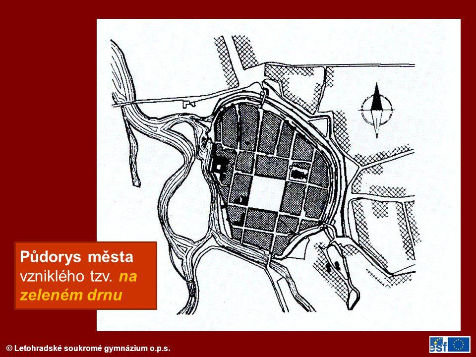 Půdorys města vzniklého tzv. na zeleném drnu