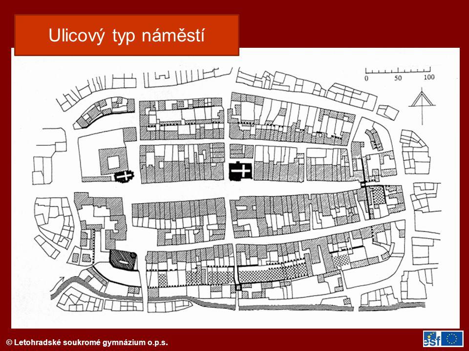 Ulicový typ náměstí Půdorys města Domažlic