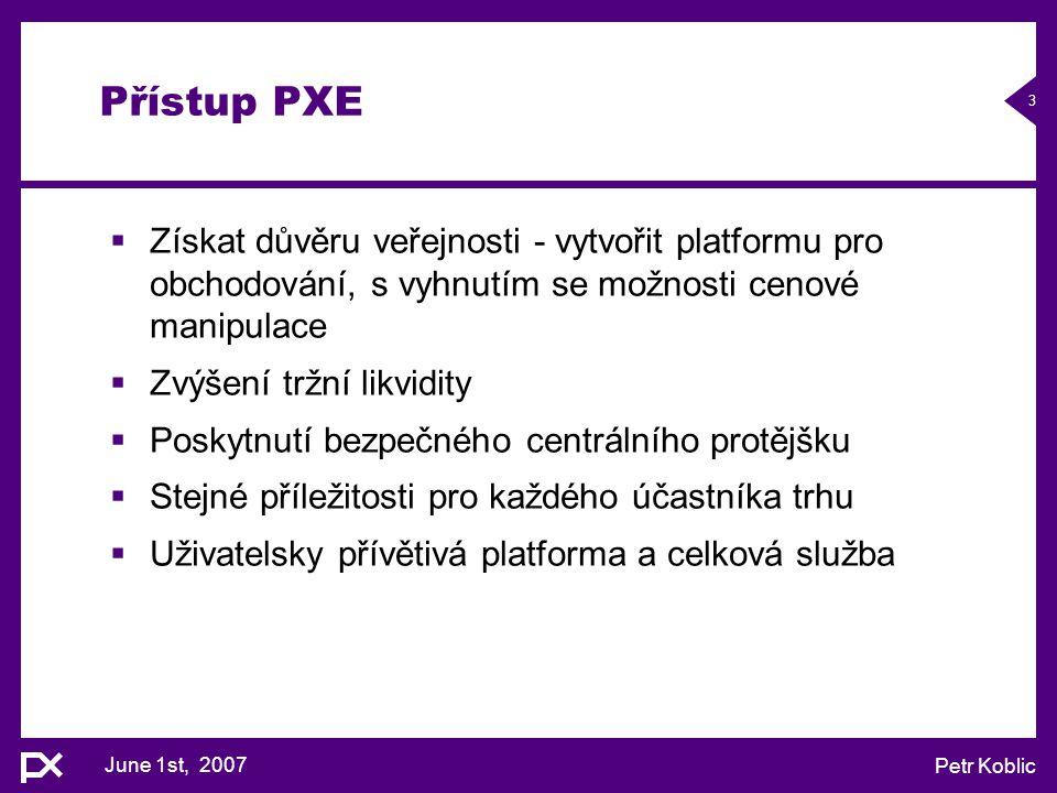 Přístup PXE Získat důvěru veřejnosti - vytvořit platformu pro obchodování, s vyhnutím se možnosti cenové manipulace.