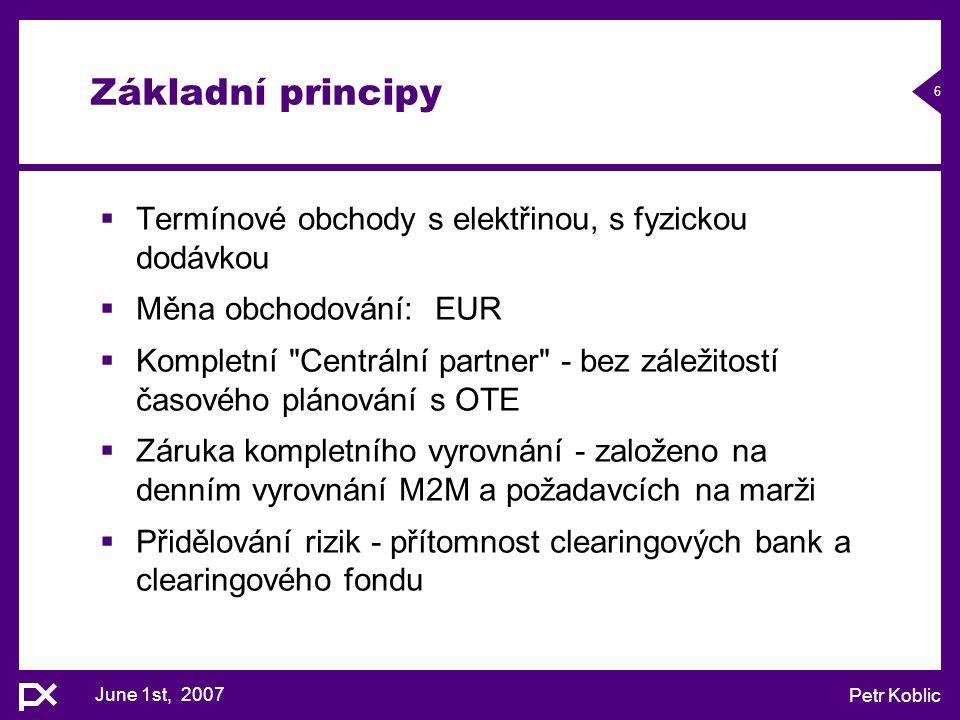Základní principy Termínové obchody s elektřinou, s fyzickou dodávkou