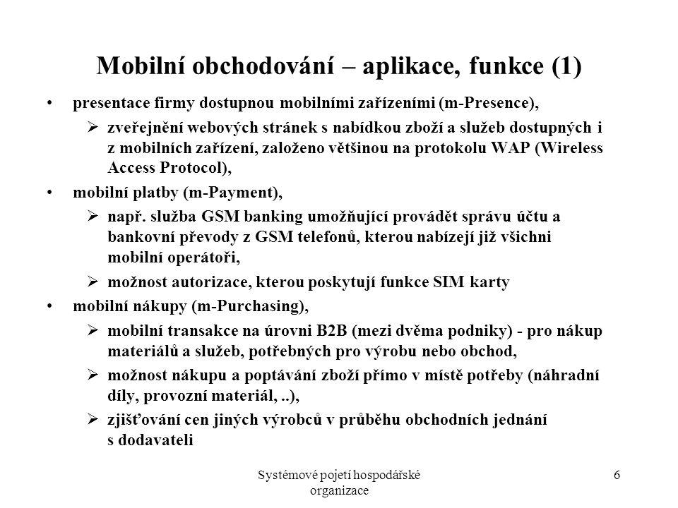Mobilní obchodování – aplikace, funkce (1)