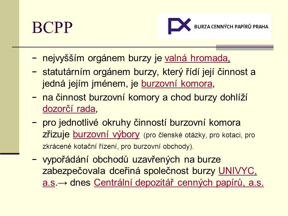 BCPP nejvyšším orgánem burzy je valná hromada,