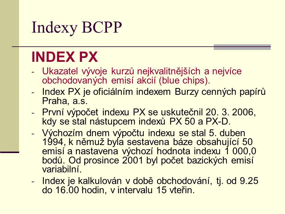 Indexy BCPP INDEX PX. Ukazatel vývoje kurzů nejkvalitnějších a nejvíce obchodovaných emisí akcií (blue chips).