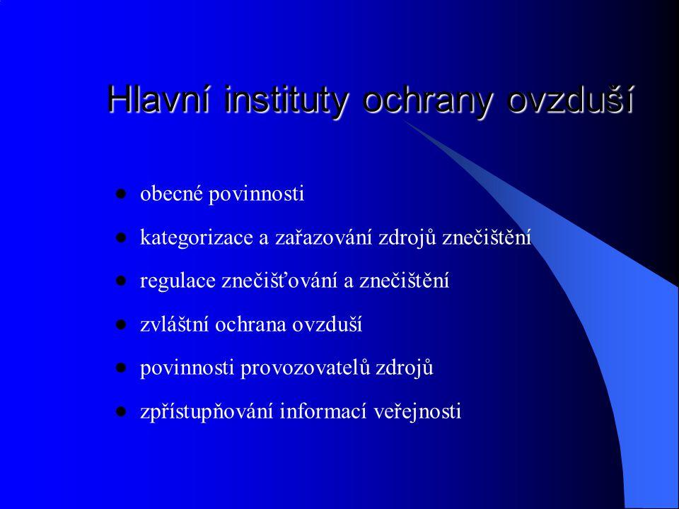 Hlavní instituty ochrany ovzduší
