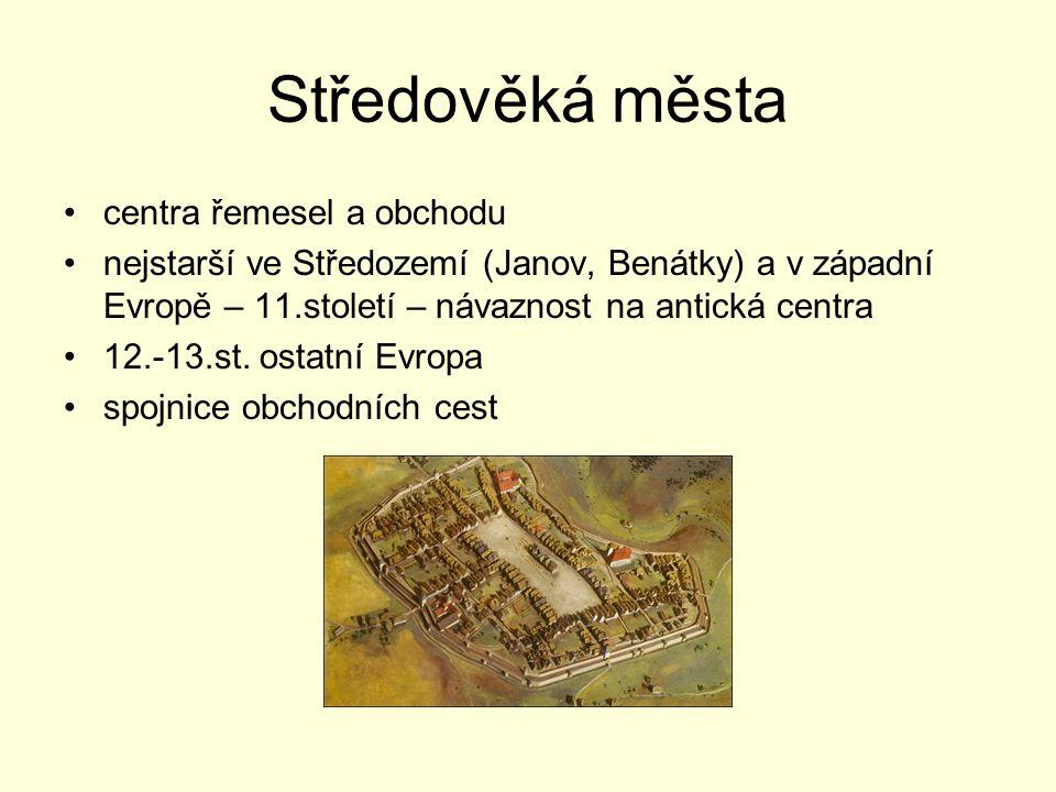 Středověká města centra řemesel a obchodu