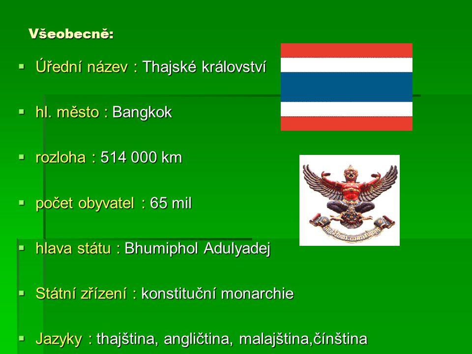 Úřední název : Thajské království hl. město : Bangkok