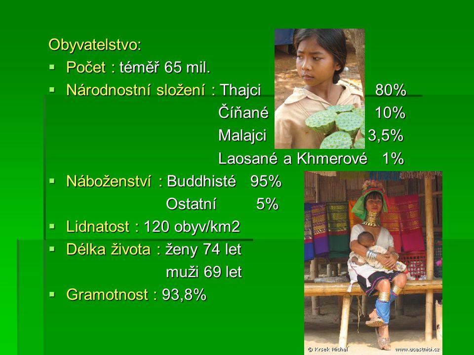 Obyvatelstvo: Počet : téměř 65 mil. Národnostní složení : Thajci 80% Číňané 10%
