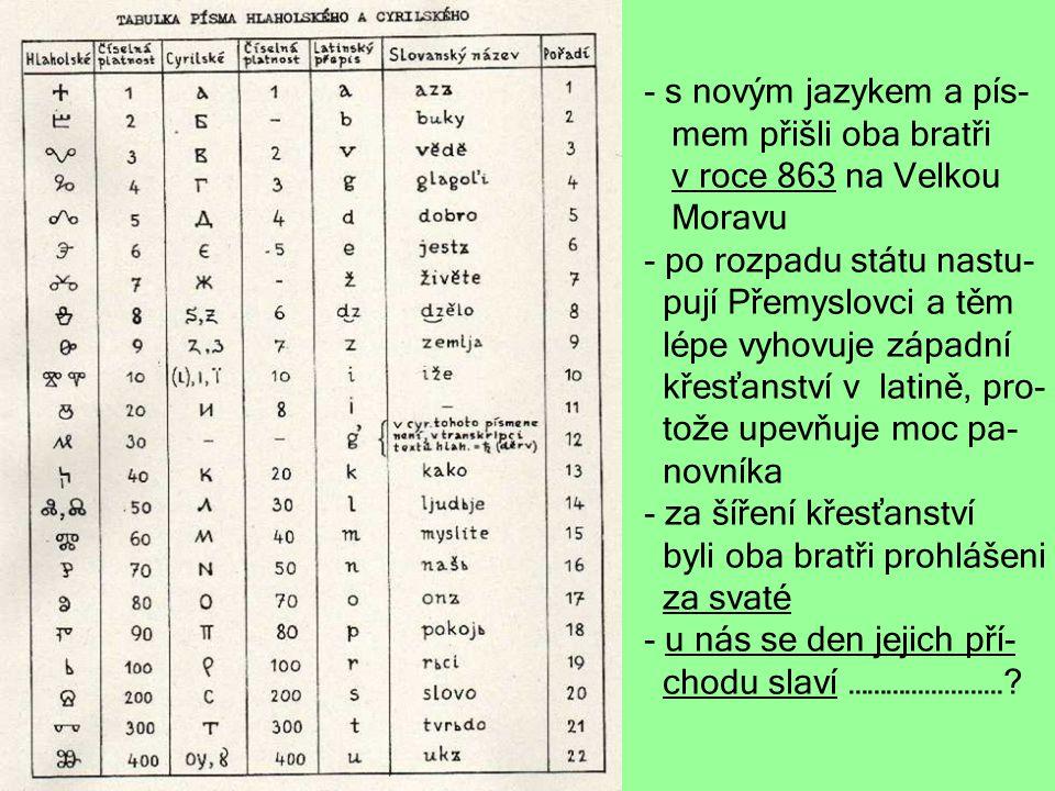 s novým jazykem a pís- mem přišli oba bratři. v roce 863 na Velkou. Moravu. po rozpadu státu nastu-