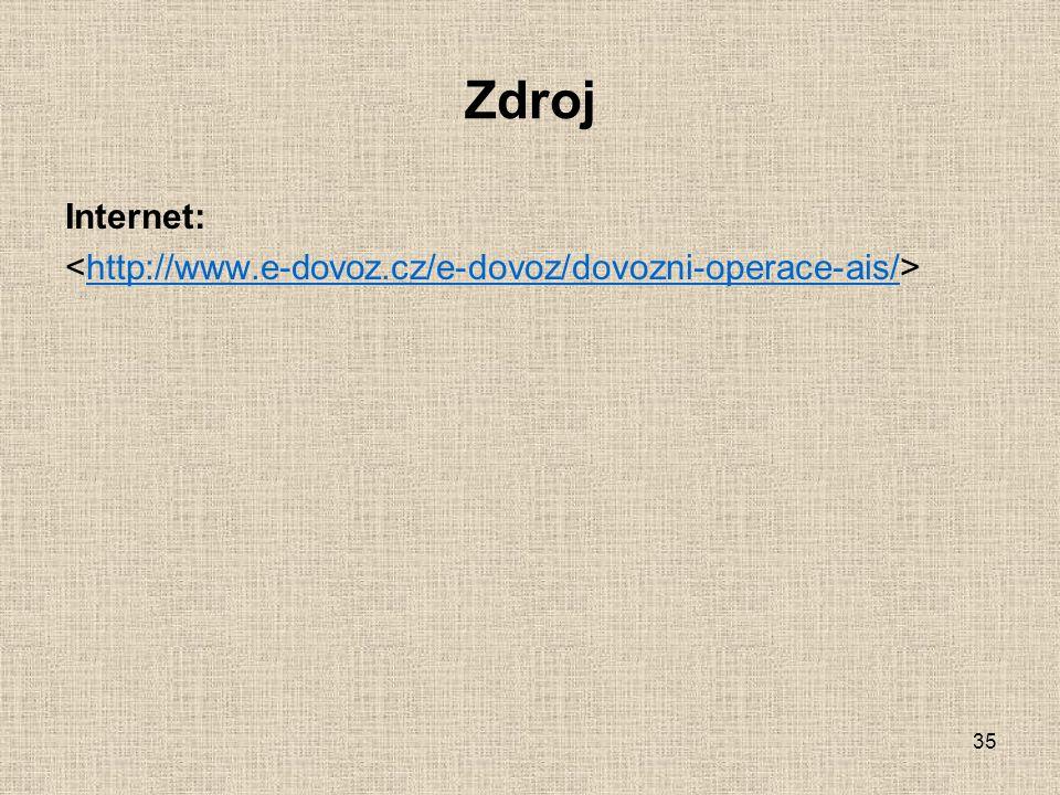 Zdroj Internet: <http://www.e-dovoz.cz/e-dovoz/dovozni-operace-ais/>