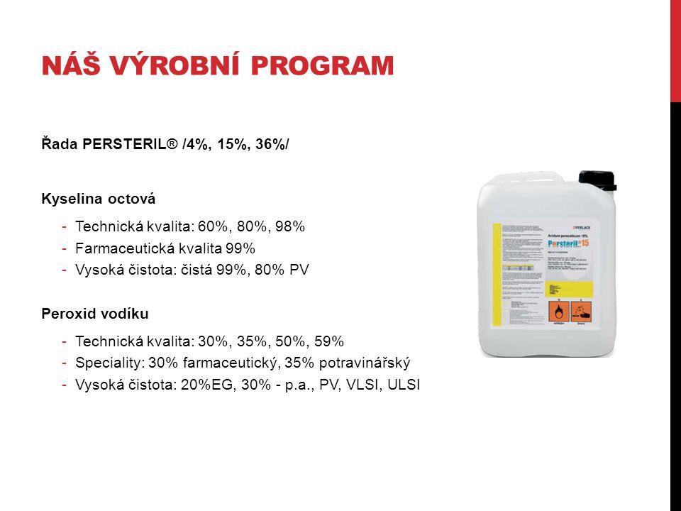 NÁŠ VÝROBNÍ PROGRAM Řada PERSTERIL® /4%, 15%, 36%/ Kyselina octová