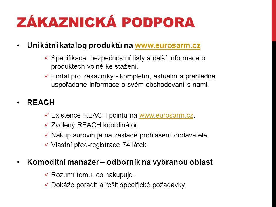 Zákaznická podpora Unikátní katalog produktů na www.eurosarm.cz REACH