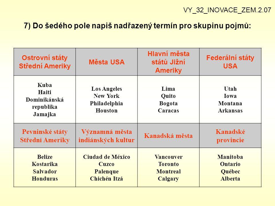 7) Do šedého pole napiš nadřazený termín pro skupinu pojmů: