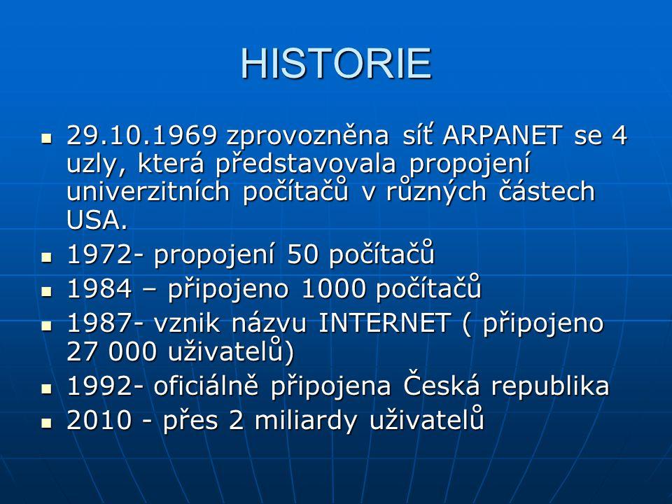 HISTORIE 29.10.1969 zprovozněna síť ARPANET se 4 uzly, která představovala propojení univerzitních počítačů v různých částech USA.