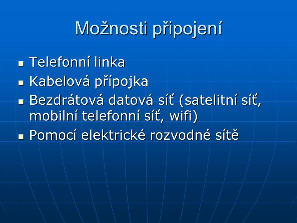 Možnosti připojení Telefonní linka Kabelová přípojka