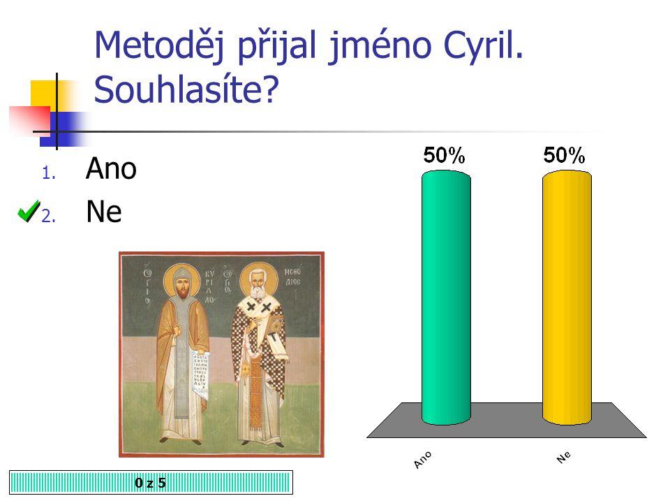 Metoděj přijal jméno Cyril. Souhlasíte