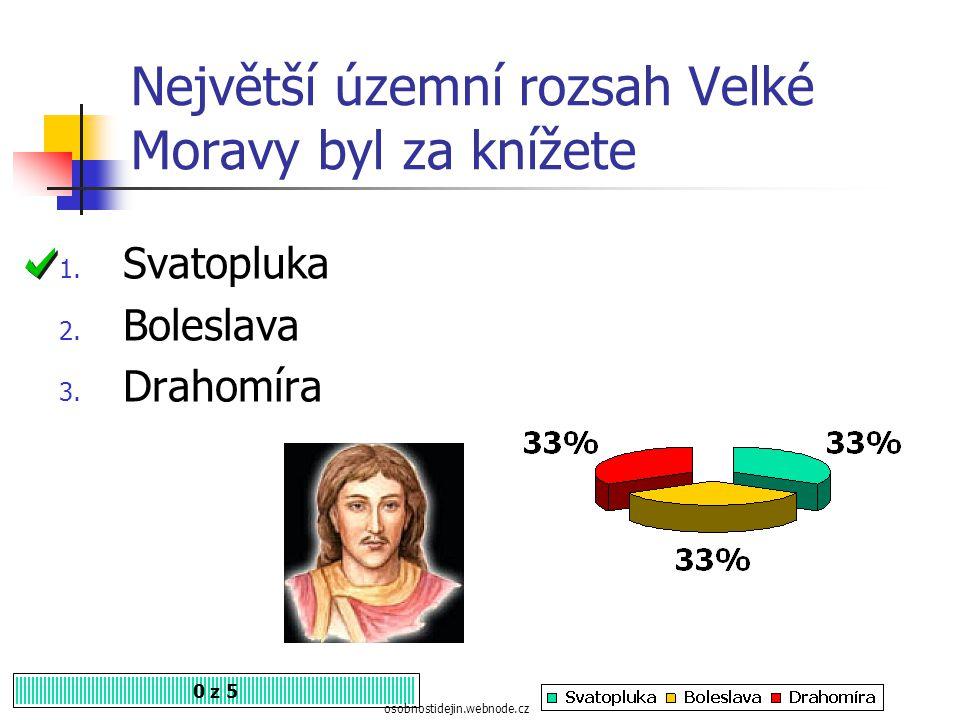 Největší územní rozsah Velké Moravy byl za knížete