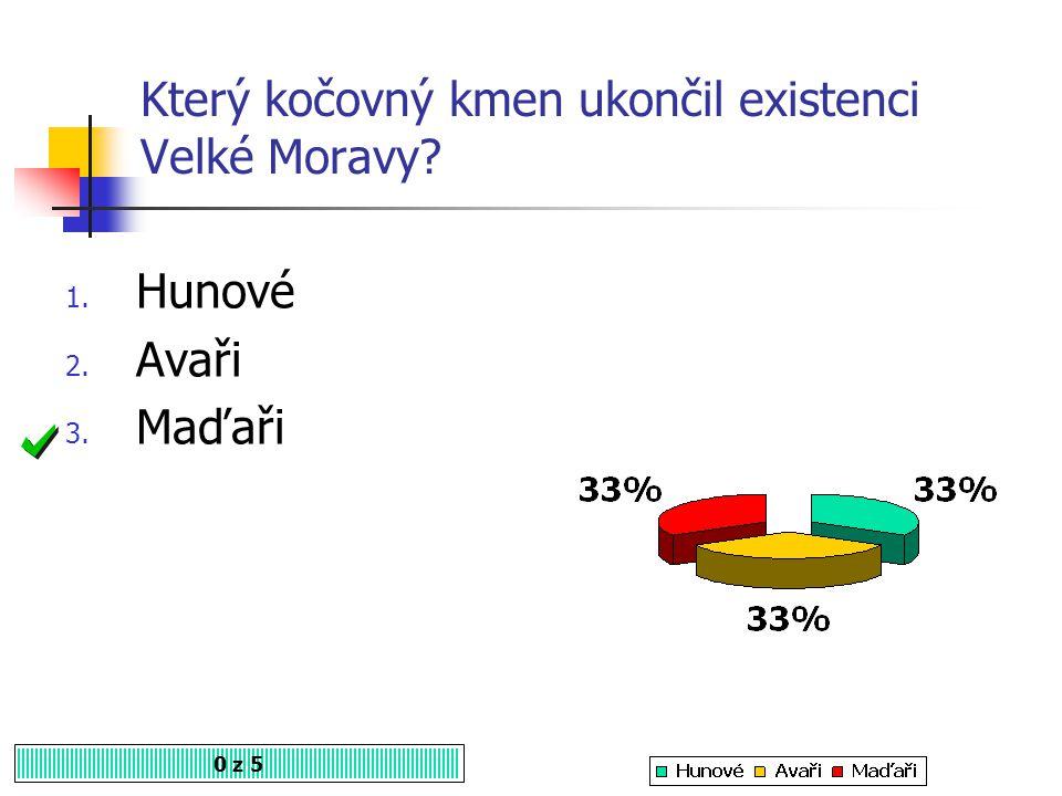 Který kočovný kmen ukončil existenci Velké Moravy