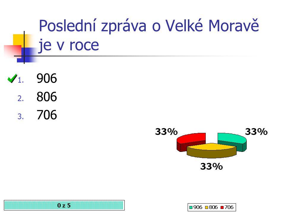 Poslední zpráva o Velké Moravě je v roce