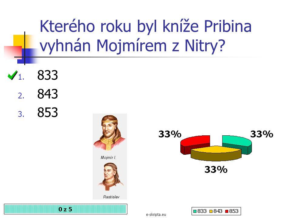 Kterého roku byl kníže Pribina vyhnán Mojmírem z Nitry