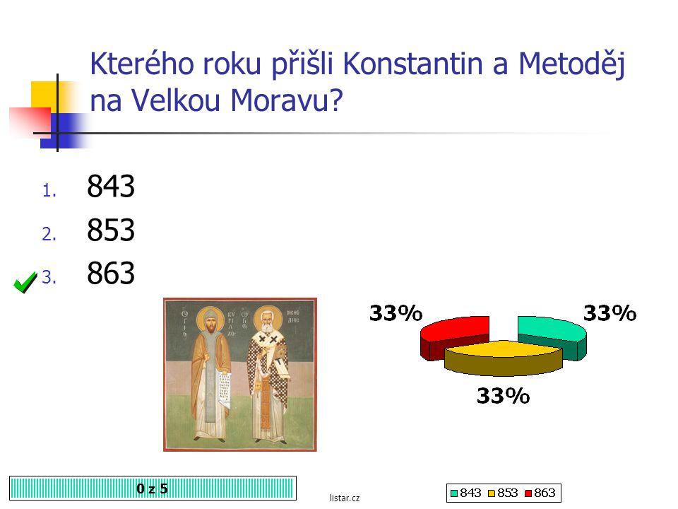 Kterého roku přišli Konstantin a Metoděj na Velkou Moravu