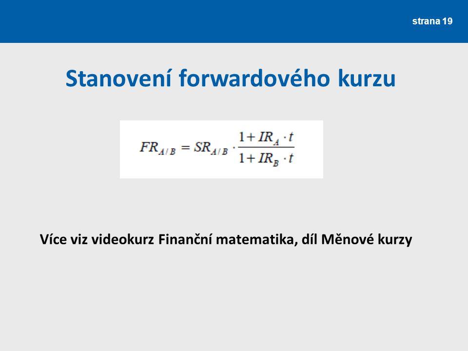Stanovení forwardového kurzu