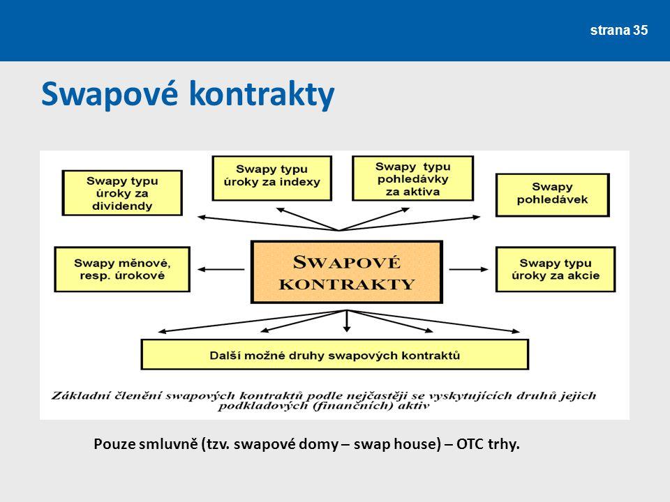 Swapové kontrakty Pouze smluvně (tzv. swapové domy – swap house) – OTC trhy.