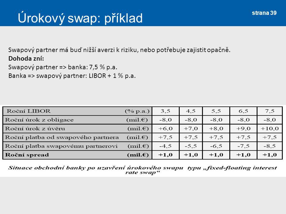 Úrokový swap: příklad Swapový partner má buď nižší averzi k riziku, nebo potřebuje zajistit opačně.