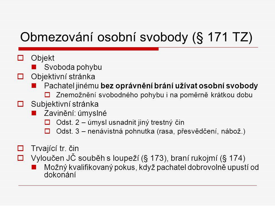 Obmezování osobní svobody (§ 171 TZ)