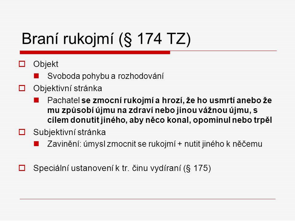 Braní rukojmí (§ 174 TZ) Objekt Objektivní stránka Subjektivní stránka