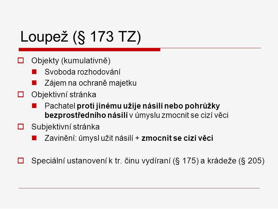 Loupež (§ 173 TZ) Objekty (kumulativně) Objektivní stránka