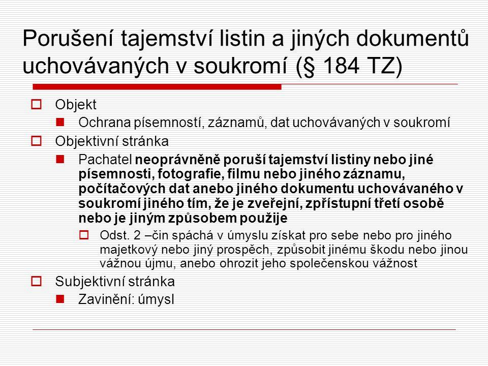 Porušení tajemství listin a jiných dokumentů uchovávaných v soukromí (§ 184 TZ)