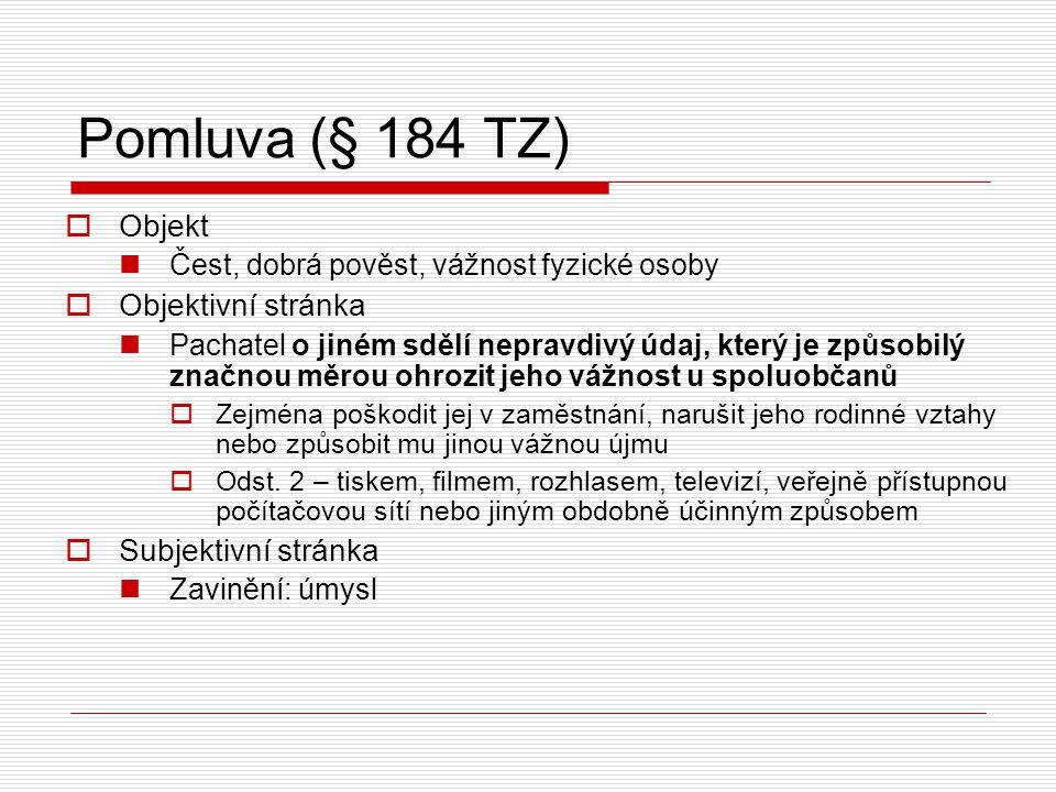 Pomluva (§ 184 TZ) Objekt Objektivní stránka Subjektivní stránka