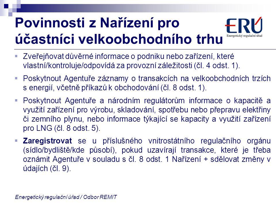 Povinnosti z Nařízení pro účastníci velkoobchodního trhu