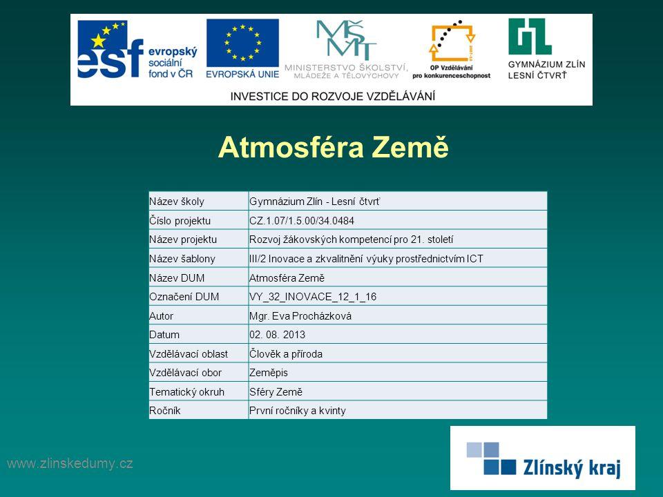 Atmosféra Země www.zlinskedumy.cz Název školy