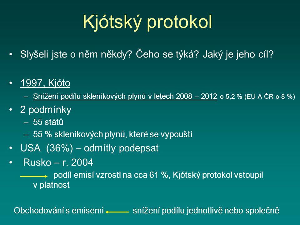 Kjótský protokol Slyšeli jste o něm někdy Čeho se týká Jaký je jeho cíl 1997, Kjóto.