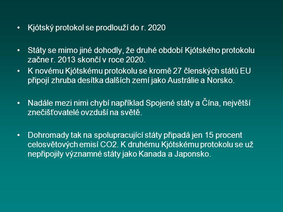 Kjótský protokol se prodlouží do r. 2020