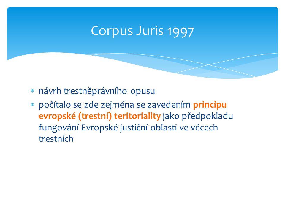 Corpus Juris 1997 návrh trestněprávního opusu