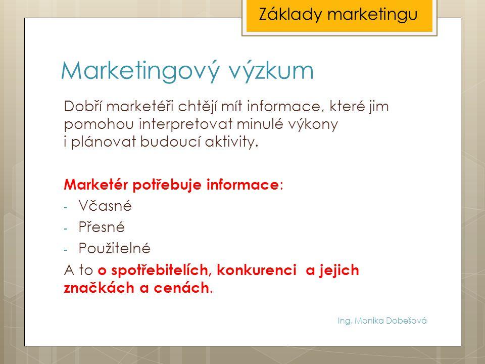 Marketingový výzkum Základy marketingu