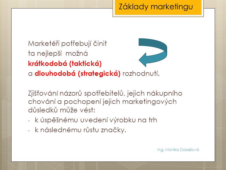 Základy marketingu Marketéři potřebují činit ta nejlepší možná