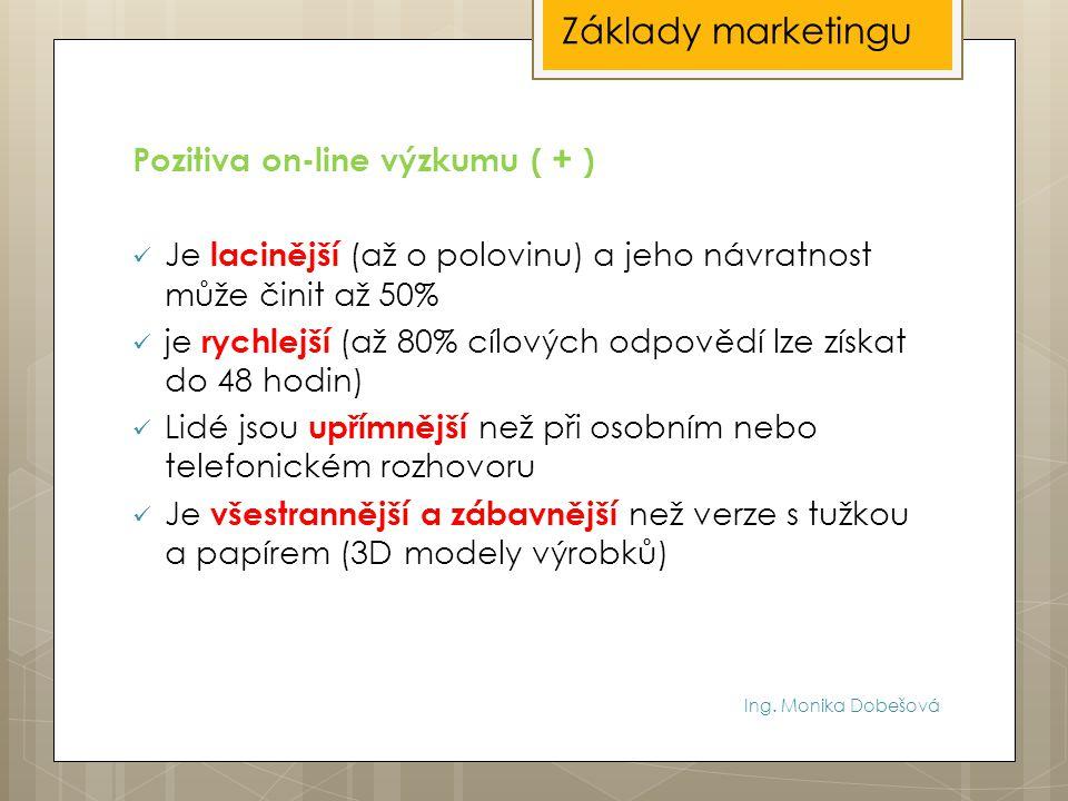 Základy marketingu Pozitiva on-line výzkumu ( + )
