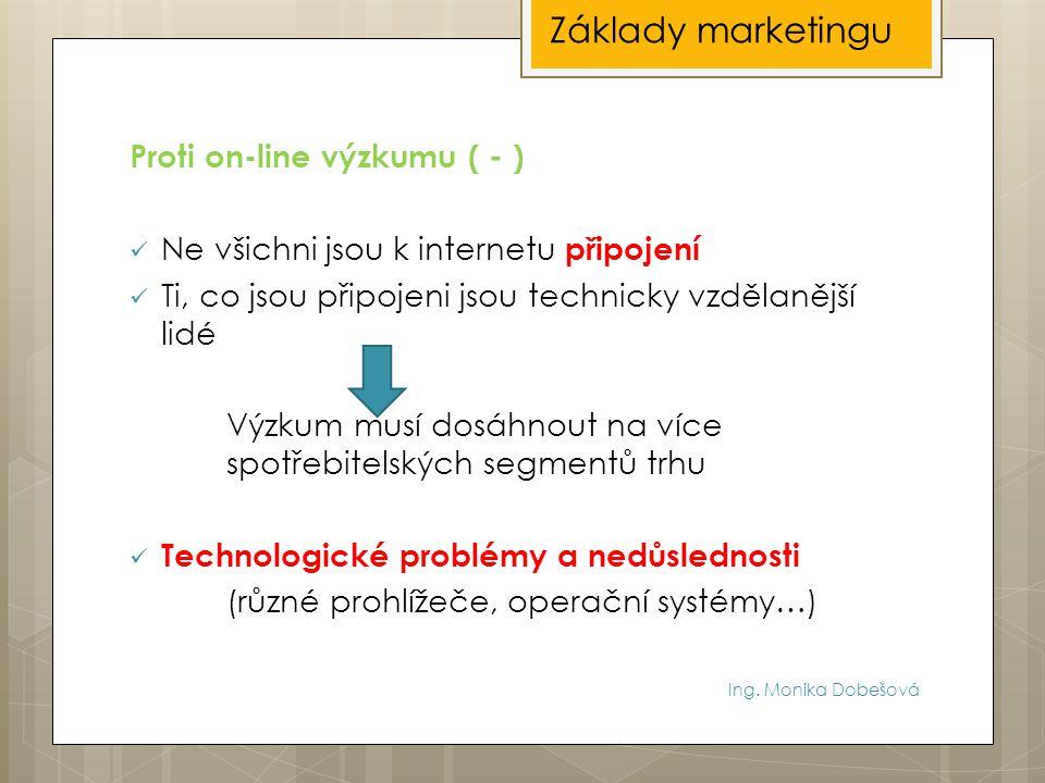 Základy marketingu Proti on-line výzkumu ( - )