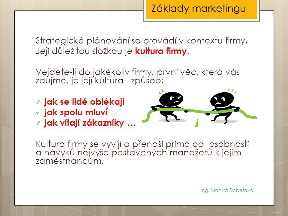 Základy marketingu Strategické plánování se provádí v kontextu firmy.