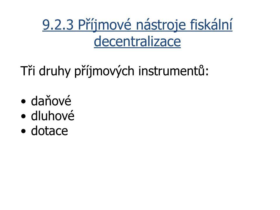 9.2.3 Příjmové nástroje fiskální decentralizace