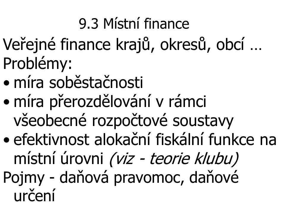 Veřejné finance krajů, okresů, obcí … Problémy: míra soběstačnosti