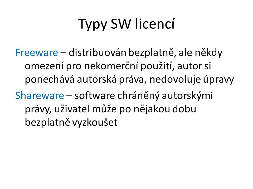Typy SW licencí Freeware – distribuován bezplatně, ale někdy omezení pro nekomerční použití, autor si ponechává autorská práva, nedovoluje úpravy.