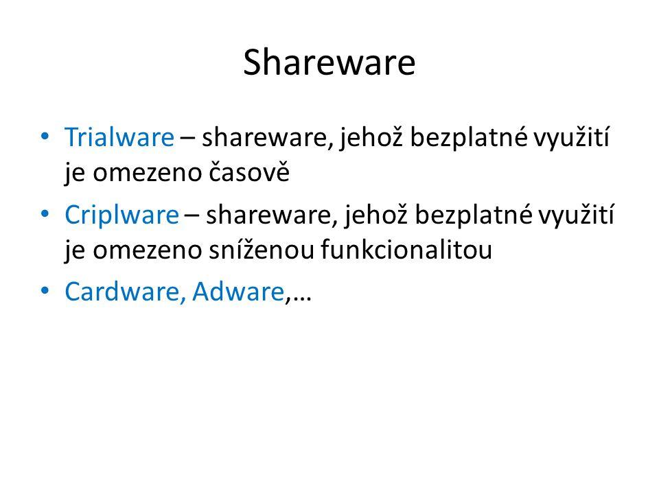 Shareware Trialware – shareware, jehož bezplatné využití je omezeno časově.