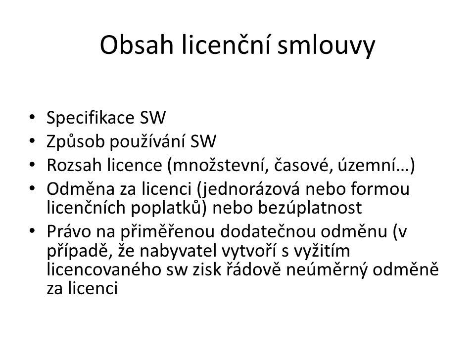 Obsah licenční smlouvy